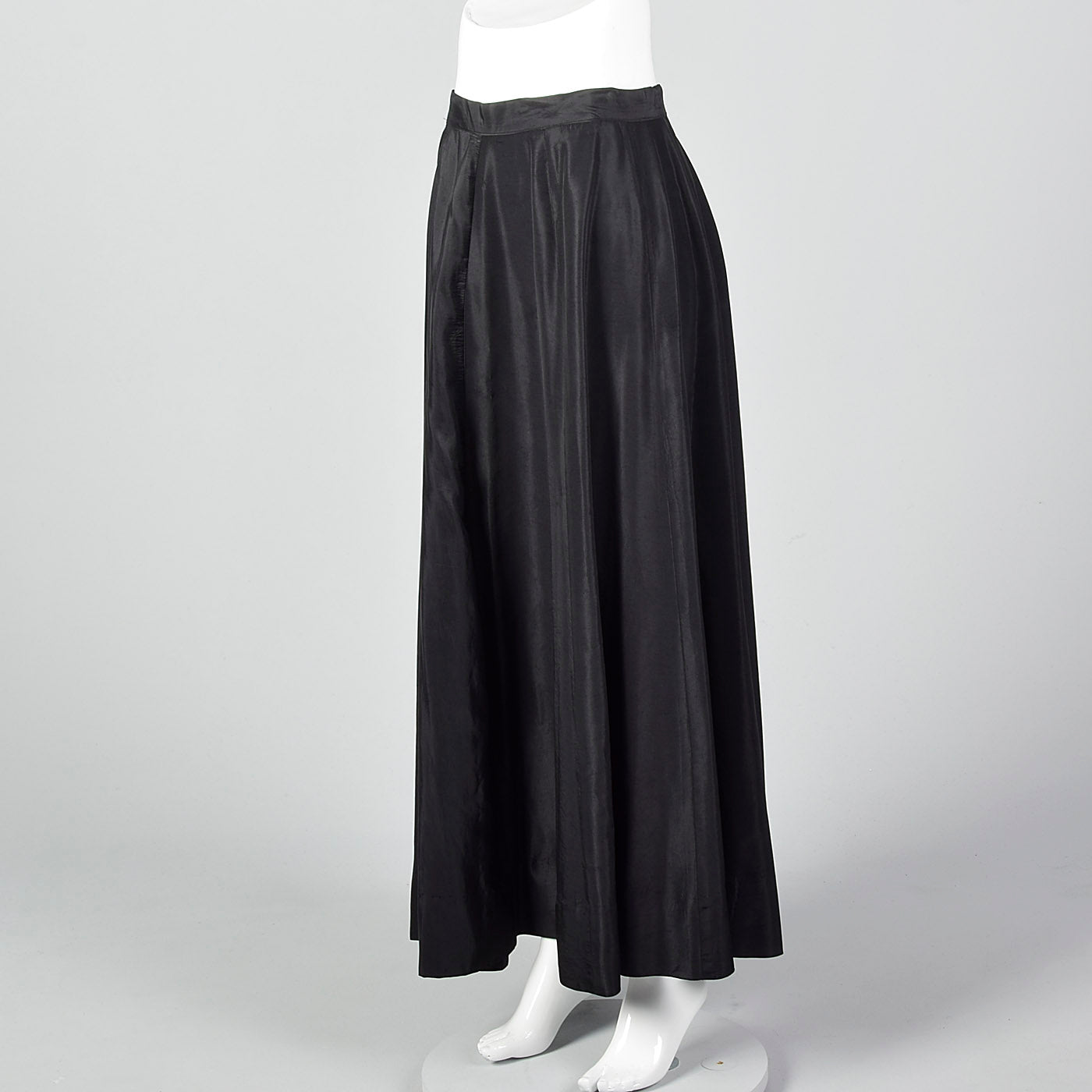 1950s Black Taffeta Maxi Skirt