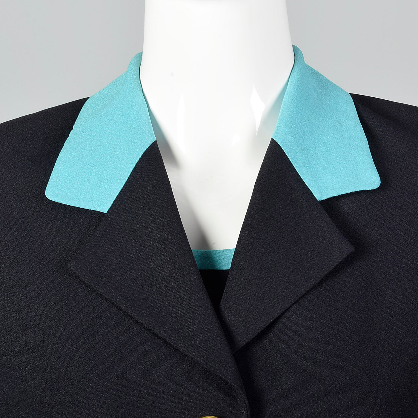 1980s Louis Feraud Navy Dress Set with Aqua Trim