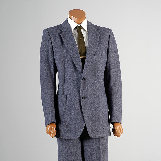 1970s Pierre Cardin Men's Blue Suit