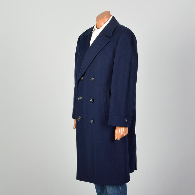 Large 1950s NavyDouble Breasted  Coat