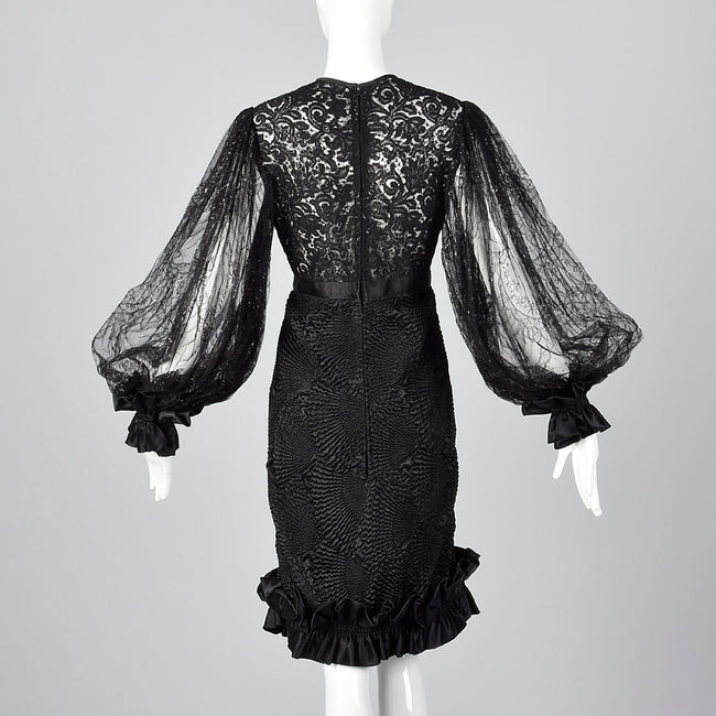 Galanos Sheer Lace Little Black Dress with Dramatic Bishop Sleeves