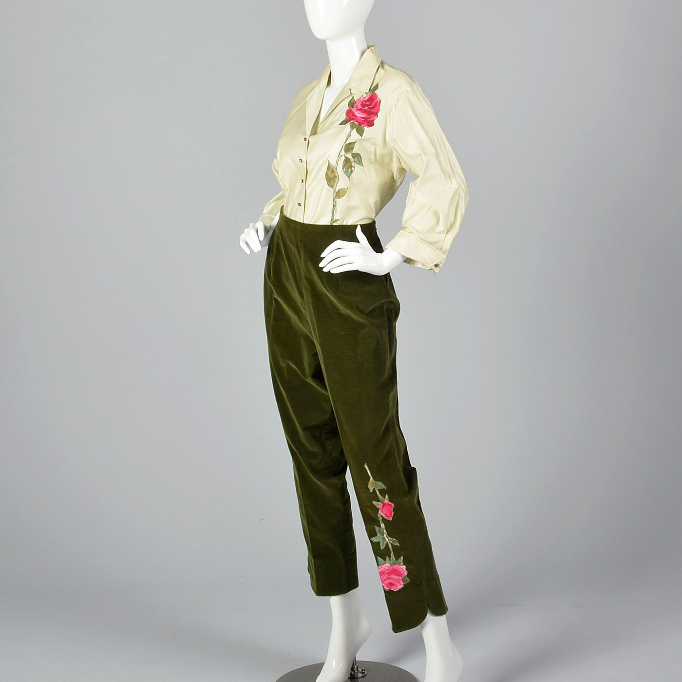 1960s Deadstock Rose Applique Pant Set