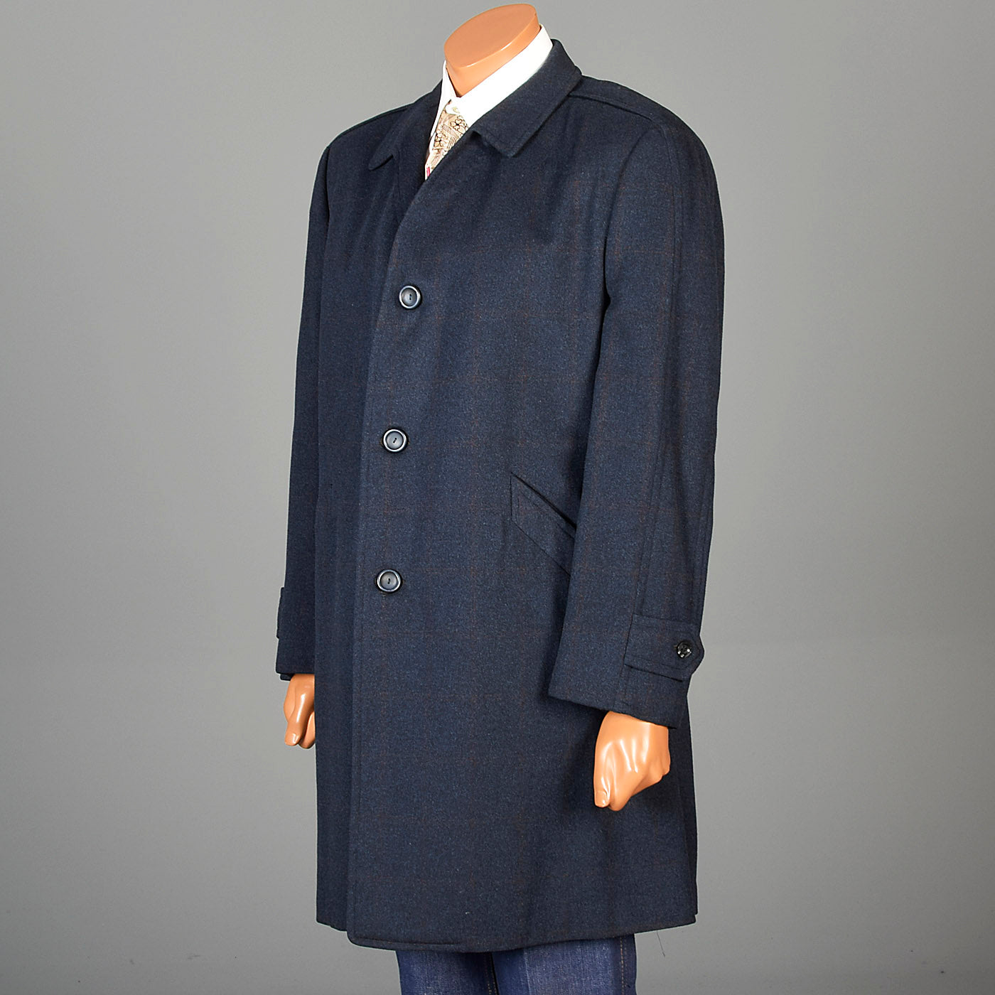 1960s Mens Navy Blue Car Coat
