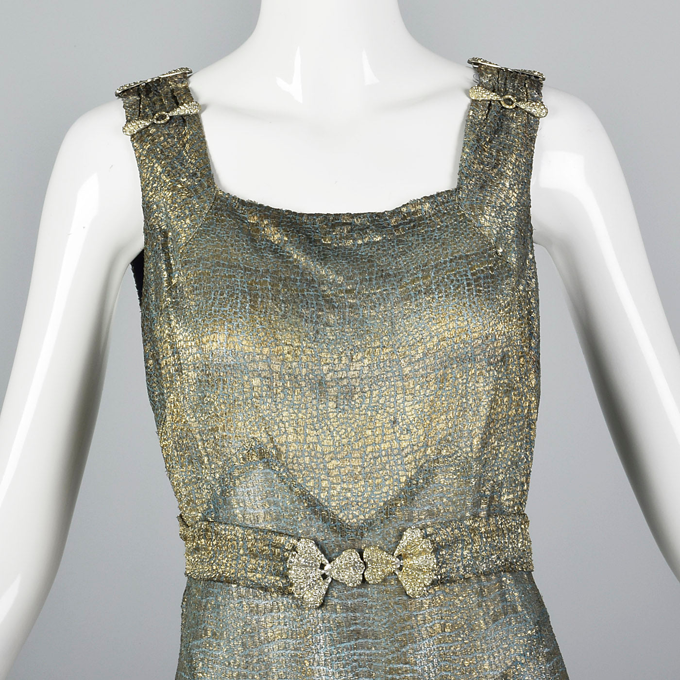 1930s Hollywood Glamour Gold Metal Evening Dress