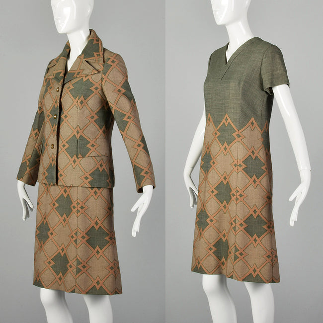 Large 1970s Green Geometric Italian Couture Dress Jacket Set