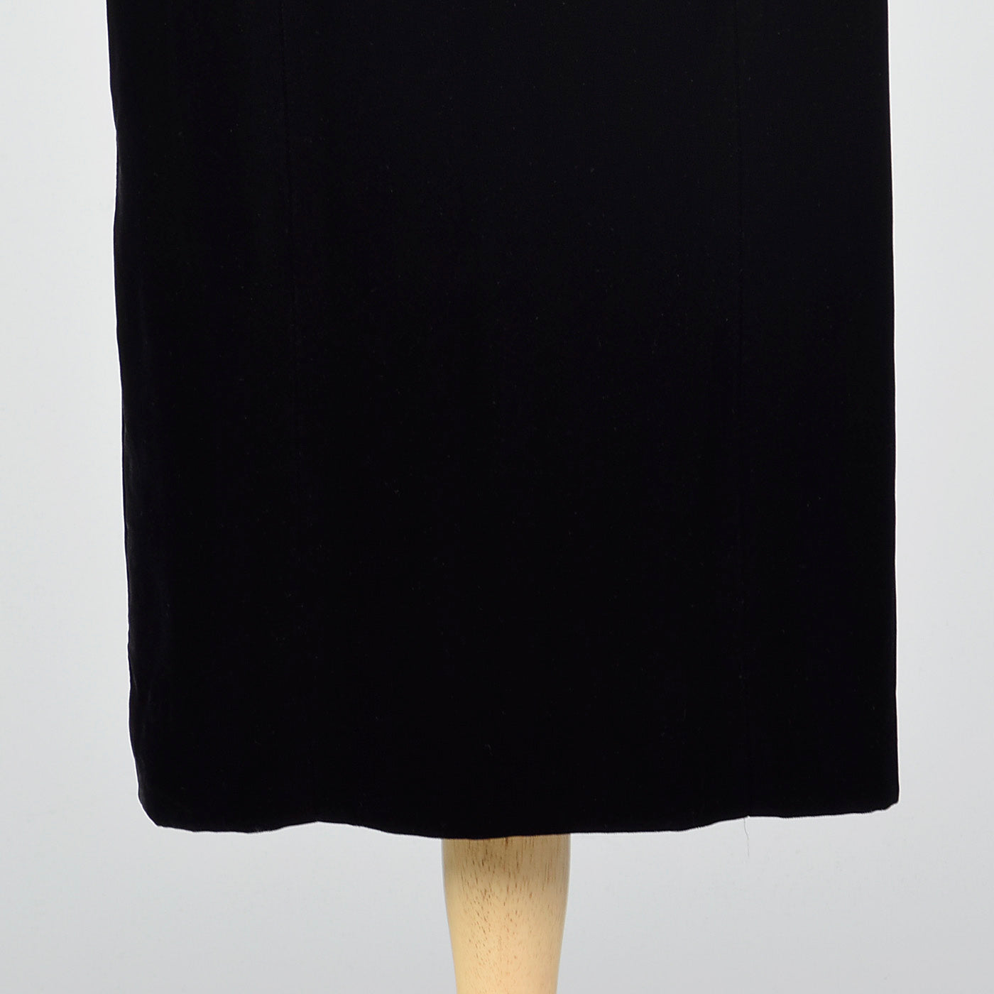 1950s Black Velvet Wiggle Dress with Gold Trim Collar