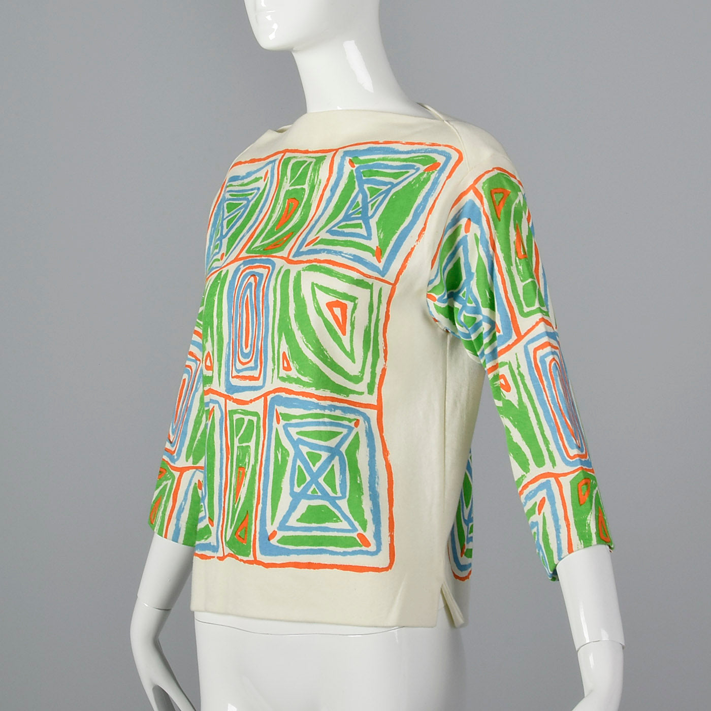 1970s Catalina Printed Boatneck Top