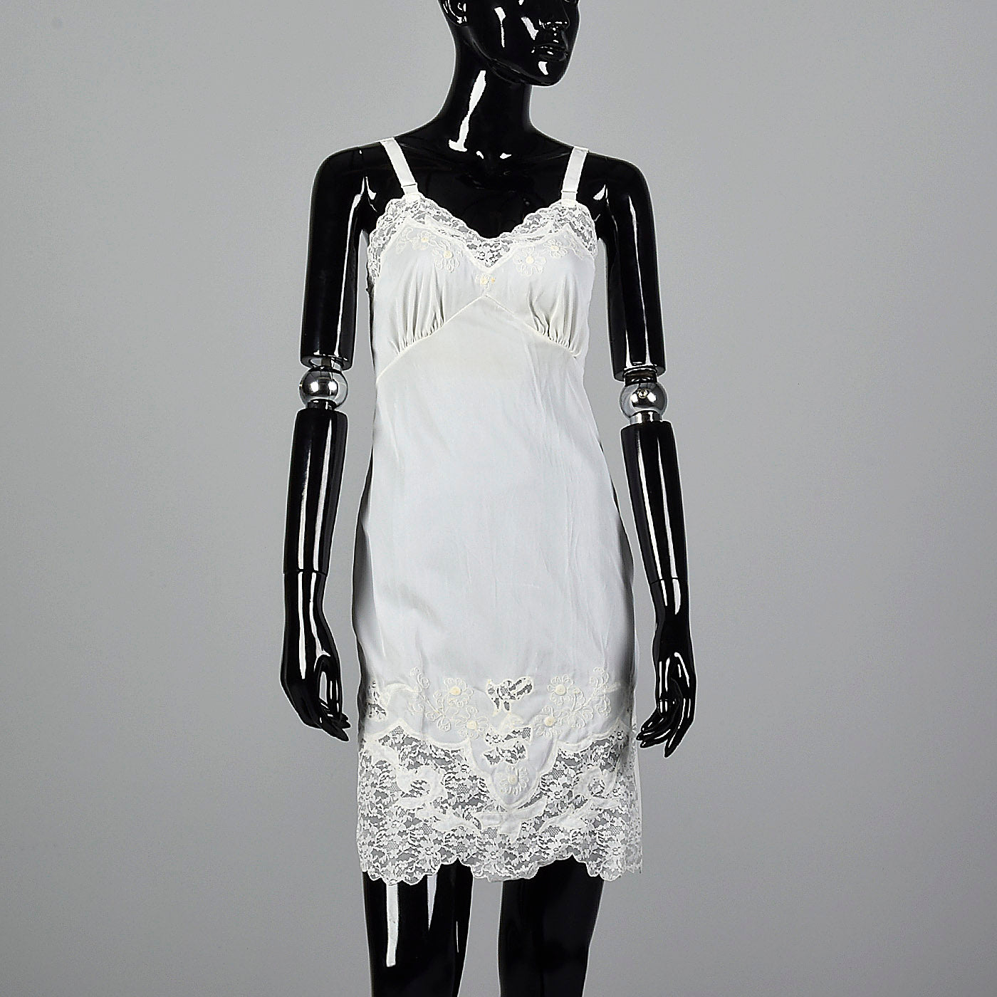 1960s White Nylon Slip with Lace Trim