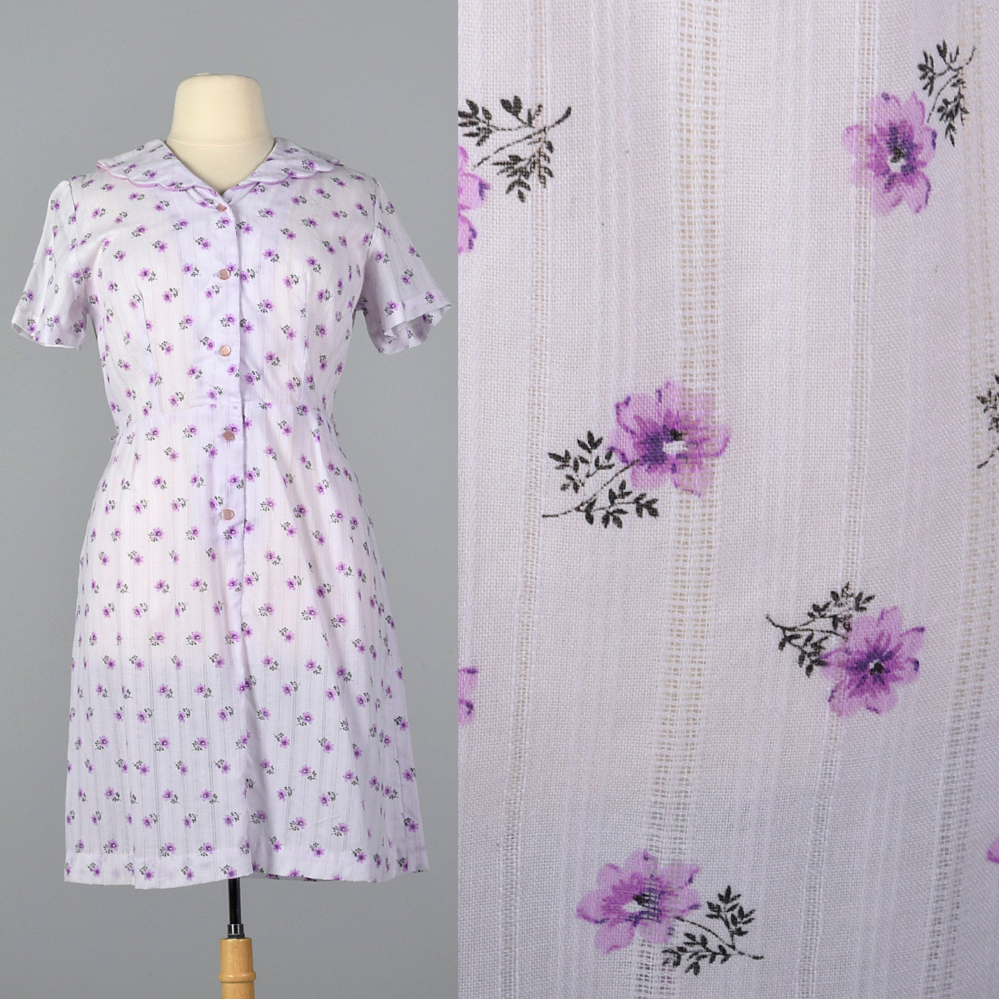 1950s Purple Floral Dress with Scallop Collar