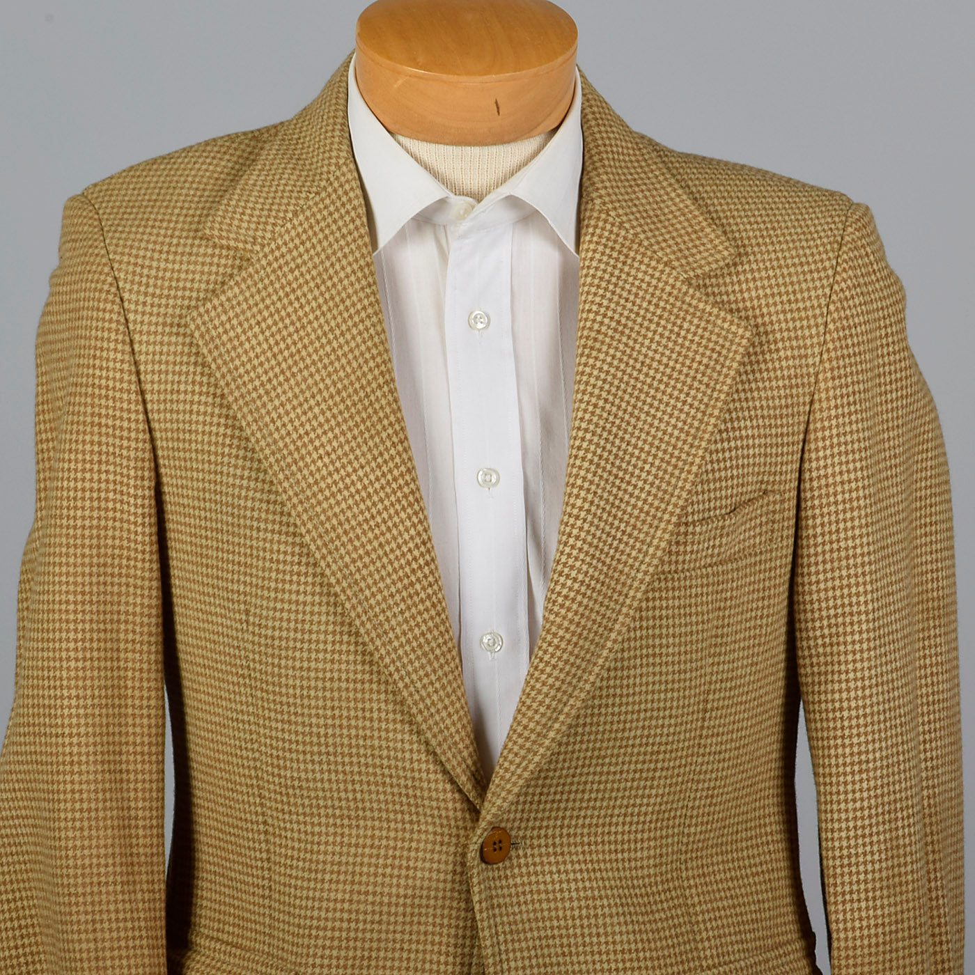 1970s Mens Houndstooth Blazer in Brown Wool