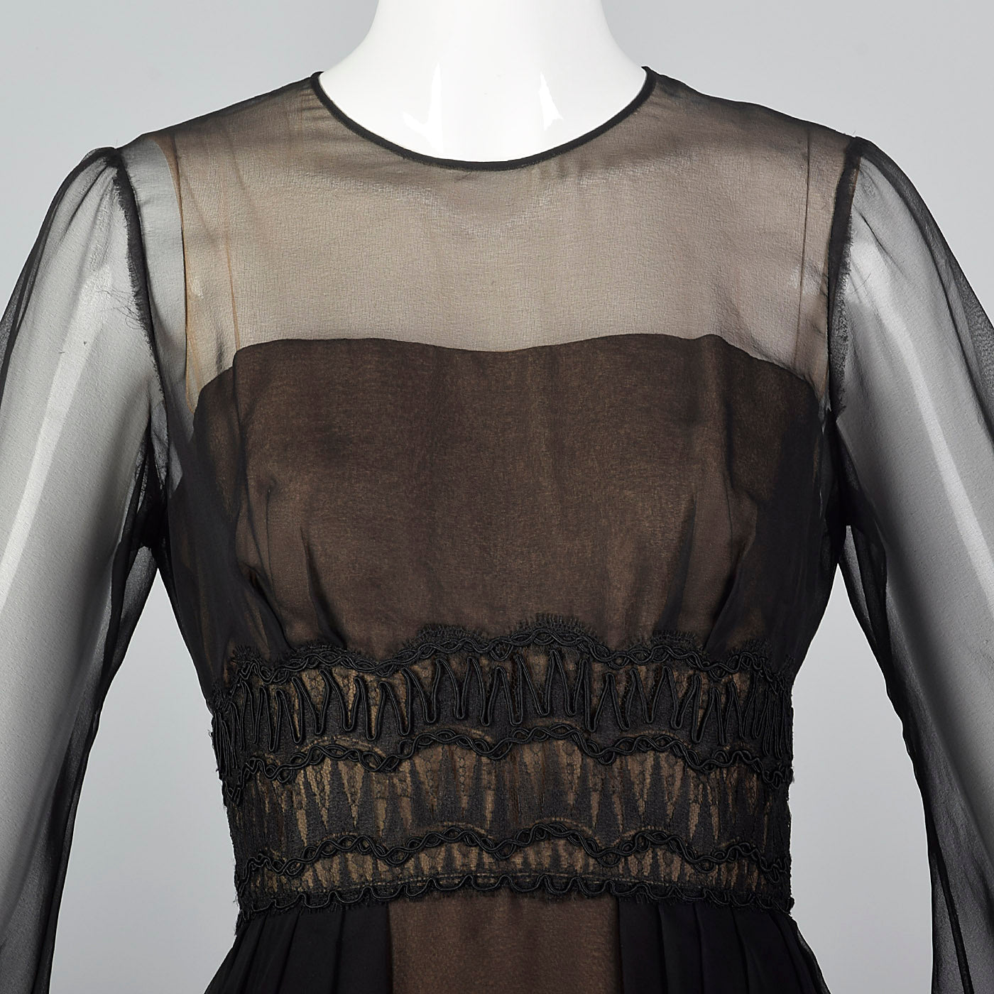 1960s Layered Sheer Dress with Bishop Sleeves