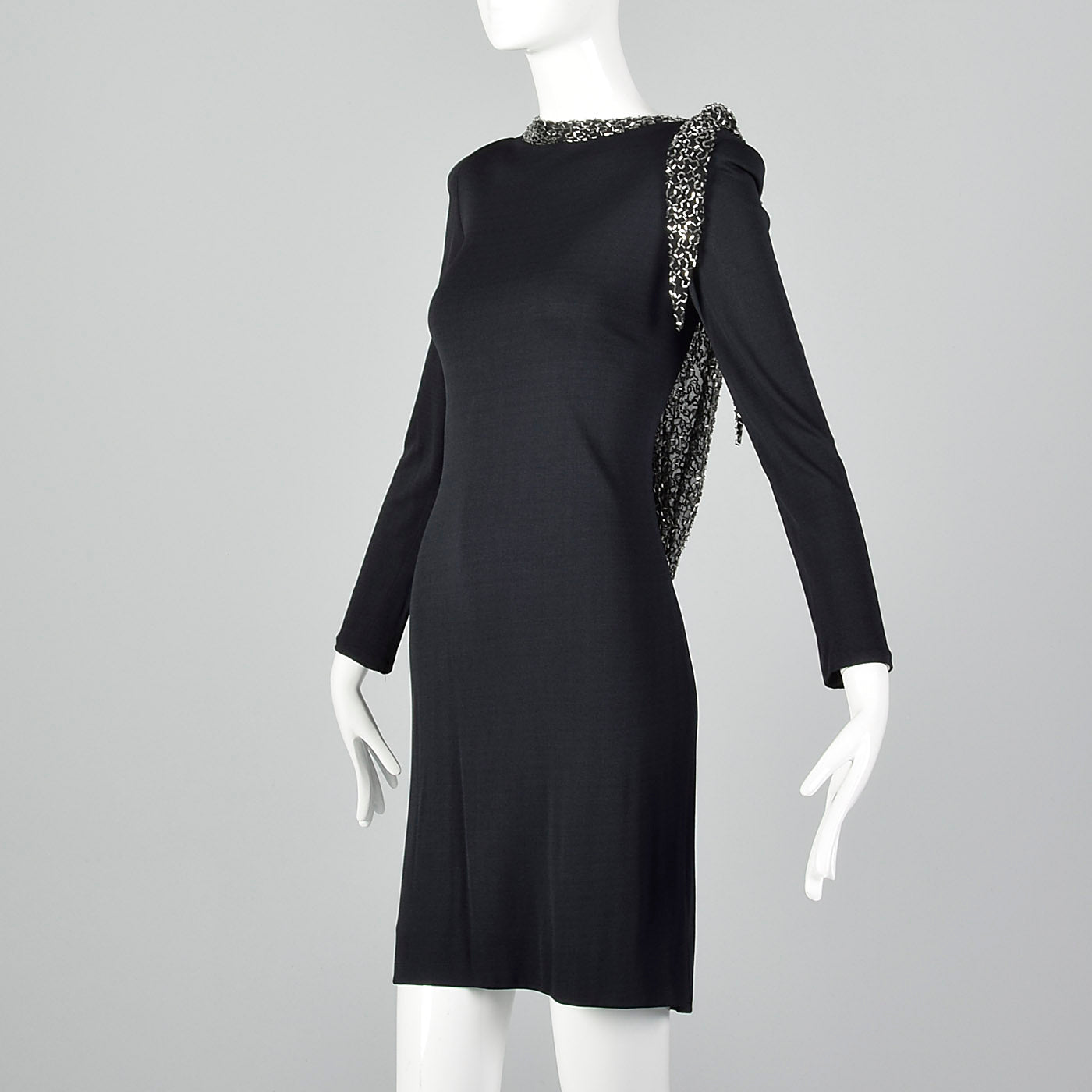 1990s Bob Mackie Black Dress with Low Cut Beaded Back