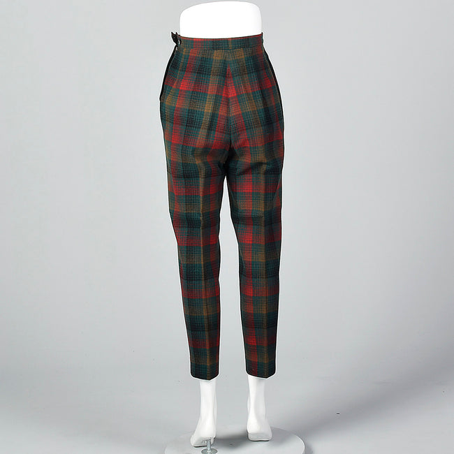 1950s Plaid Wool Cigarette Pants