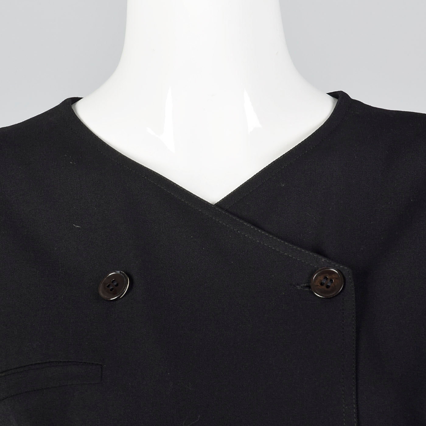 1990s Valentino Black Wool Sack Dress with a Pleated Back