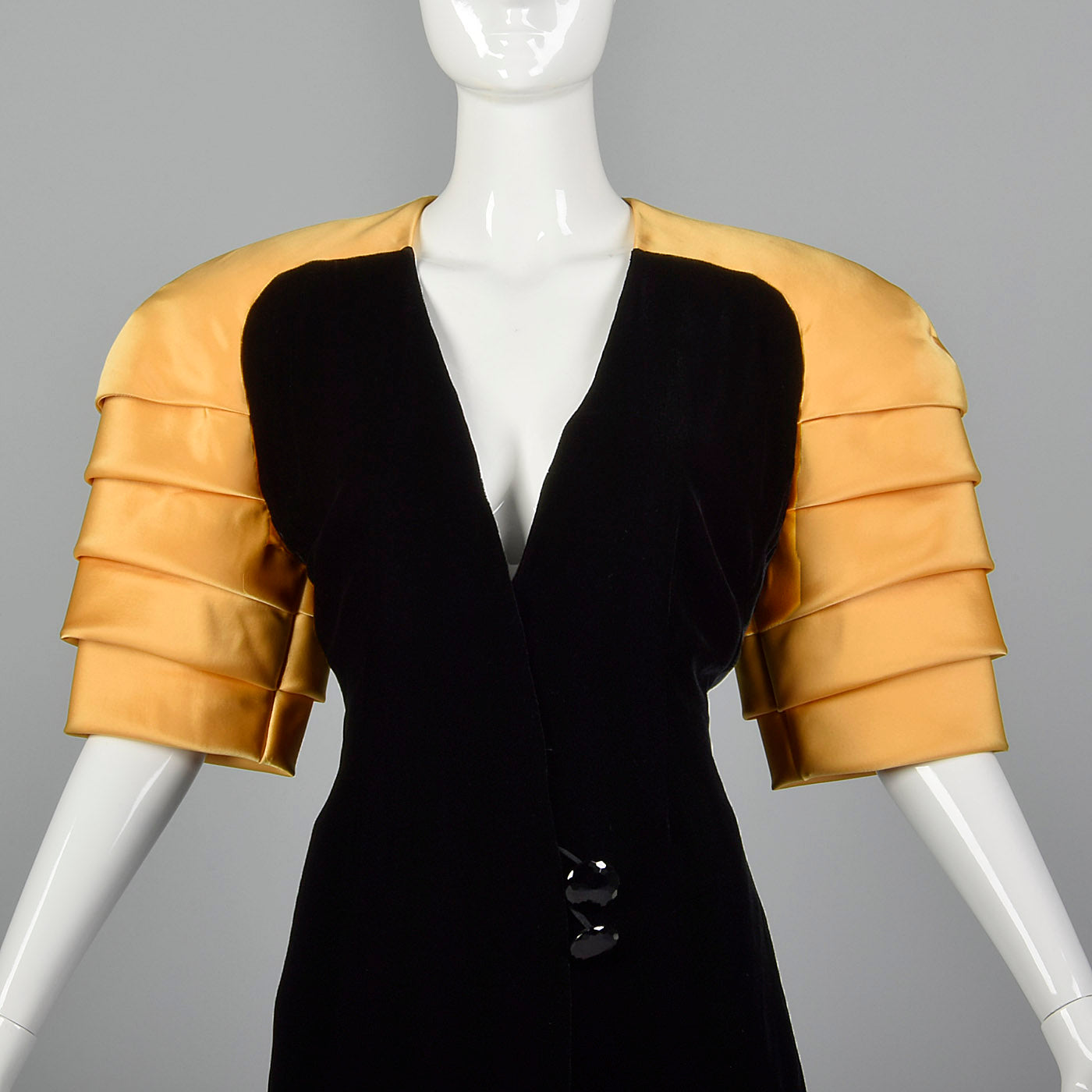 1980s Ingrid Luhn Black Velvet Skirt Suit with Gold Shoulders