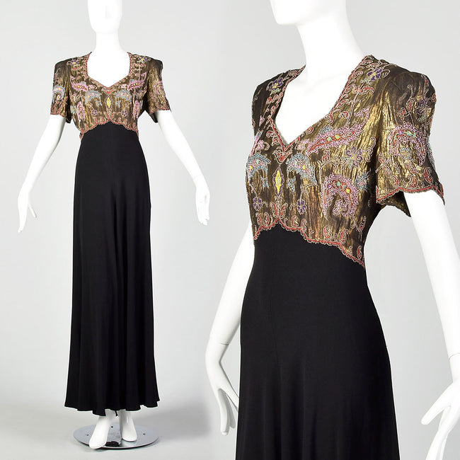 1940s Gold Lamé Beaded Black Evening Gown