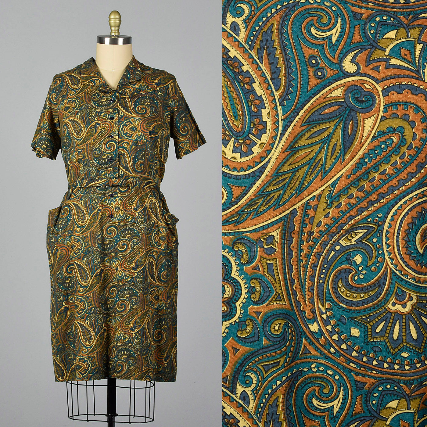 1950s Cotton Day Dress in Paisley Print