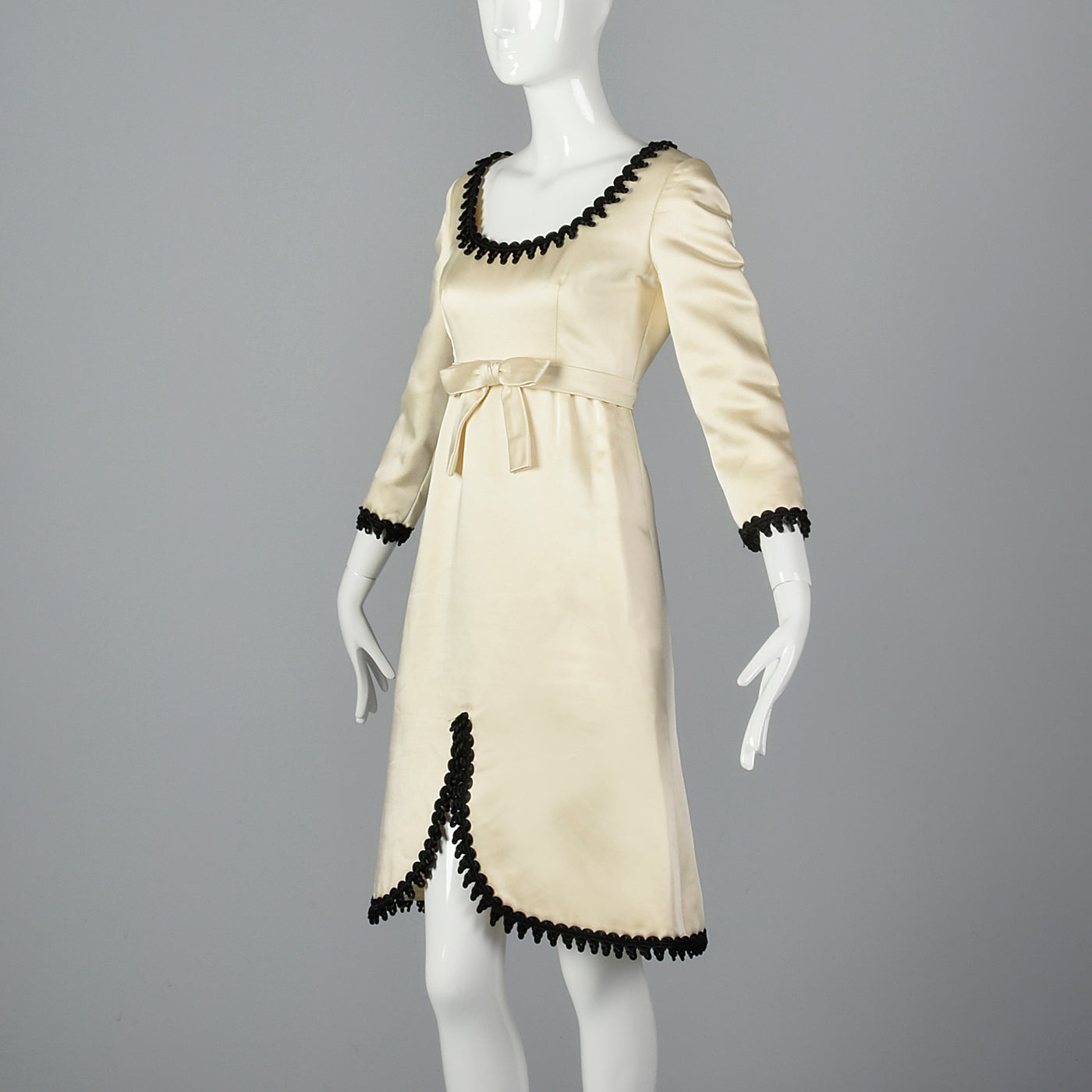 1960s Mollie Parnis White Satin Dress with Black Trim