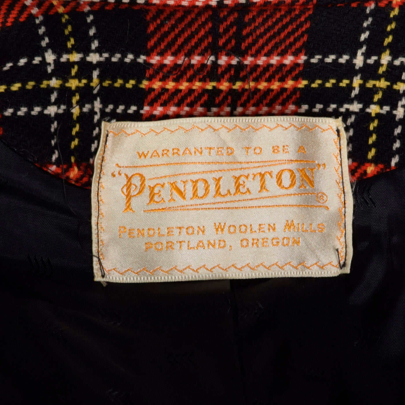 1950s Pendleton Bright Red Tartan Plaid Coat