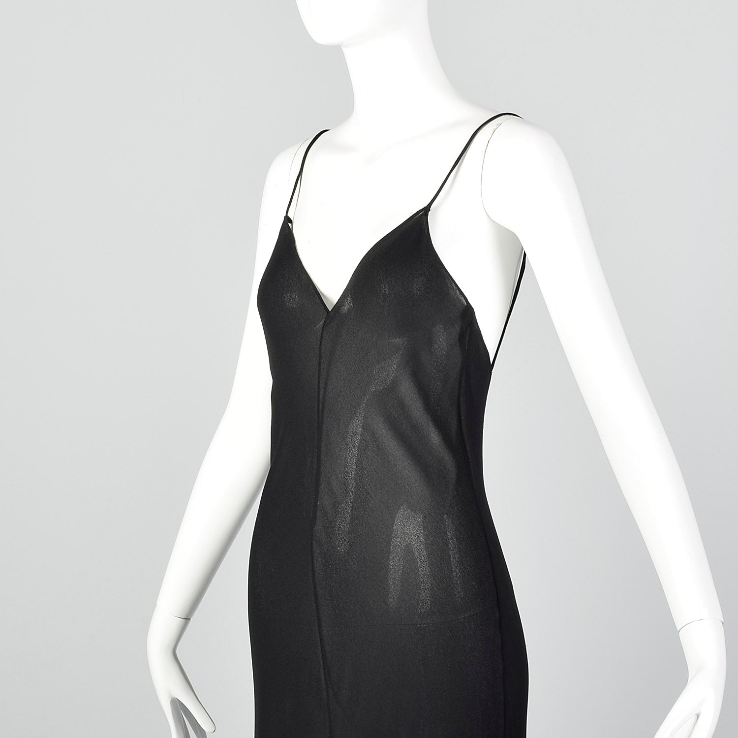 S/M Donna Karan Late 1980s Sheer Bias Cut Dress