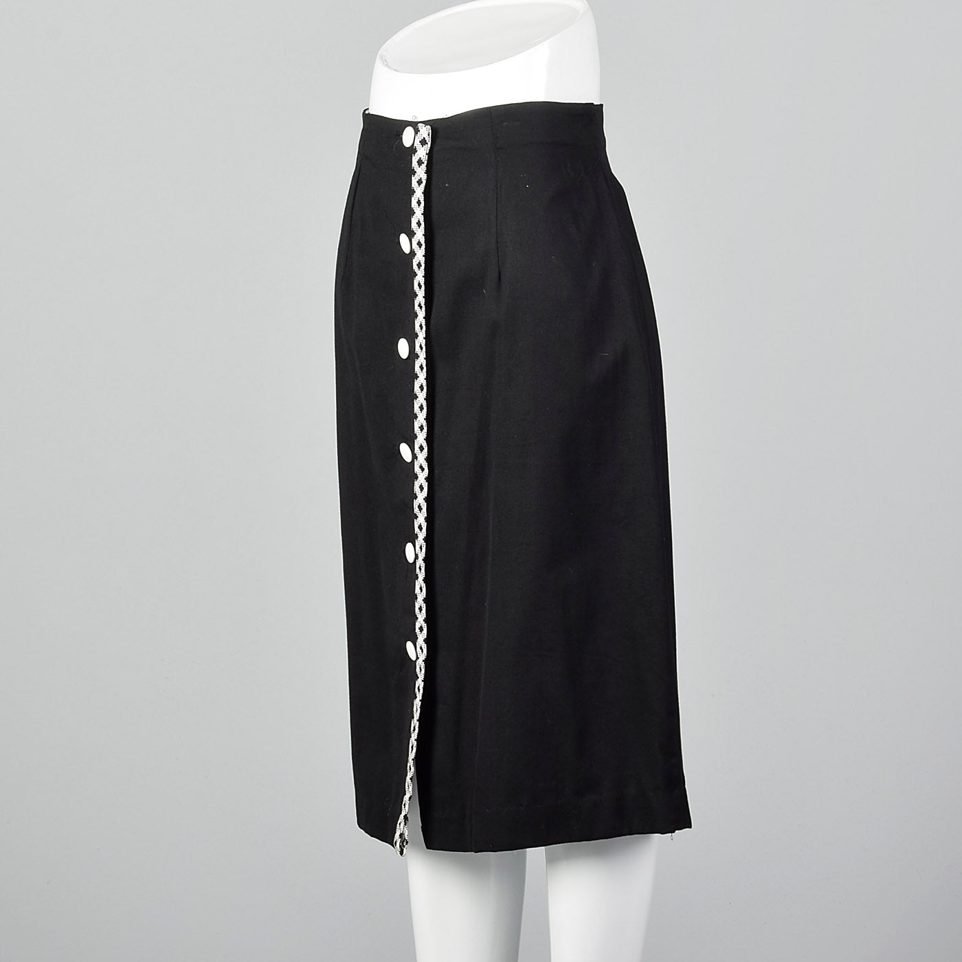1960s Black Polished Cotton Skirt with White Trim