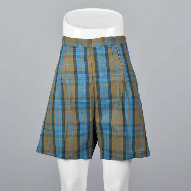 1950s Brown and Blue Plaid Shorts