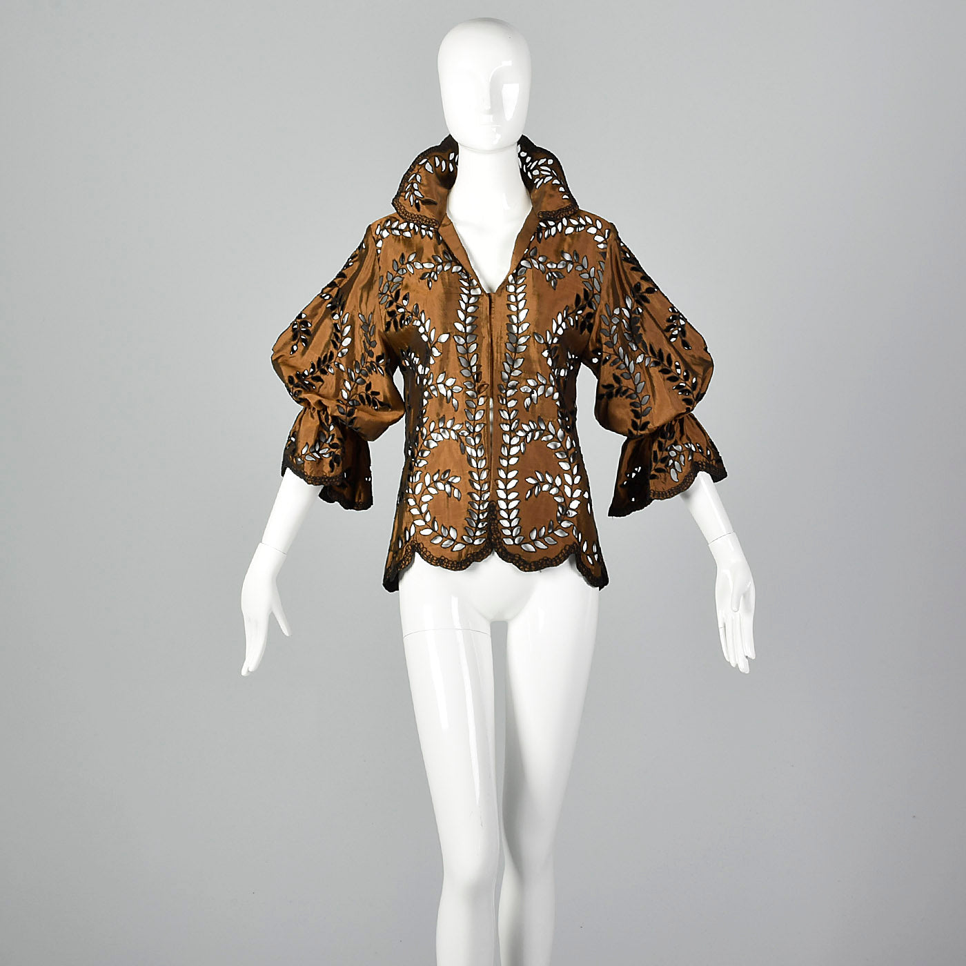 1980s Victor Costa Bronze Metallic Blouse