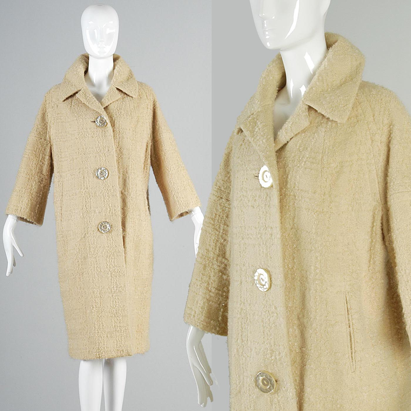 1960s Cream Boucle Tweed Car Coat