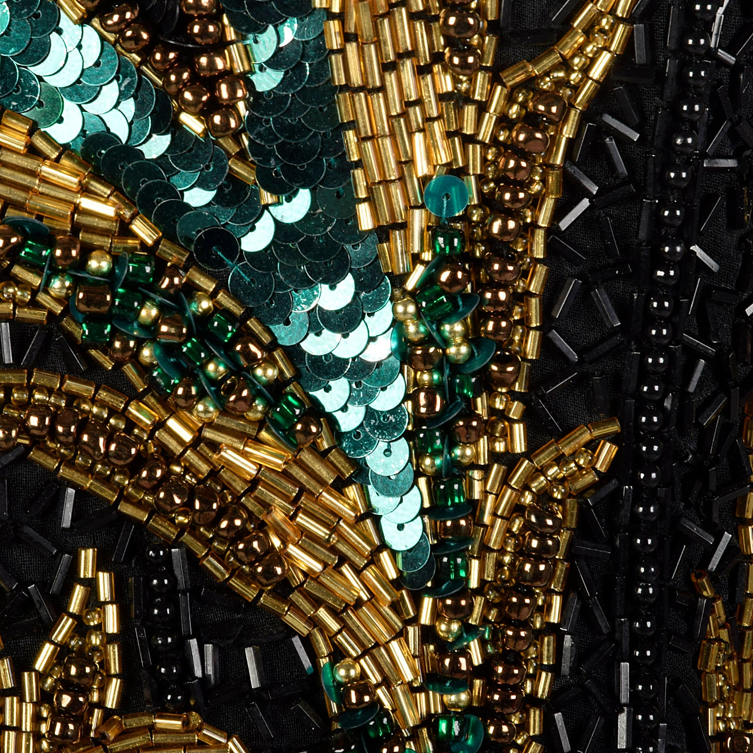 Medium Bob Mackie Boutique 1990s Black and Green Beaded Dress