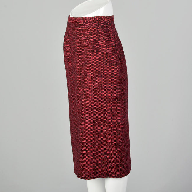 1960s Red & Black Wool Tweed Pencil Skirt
