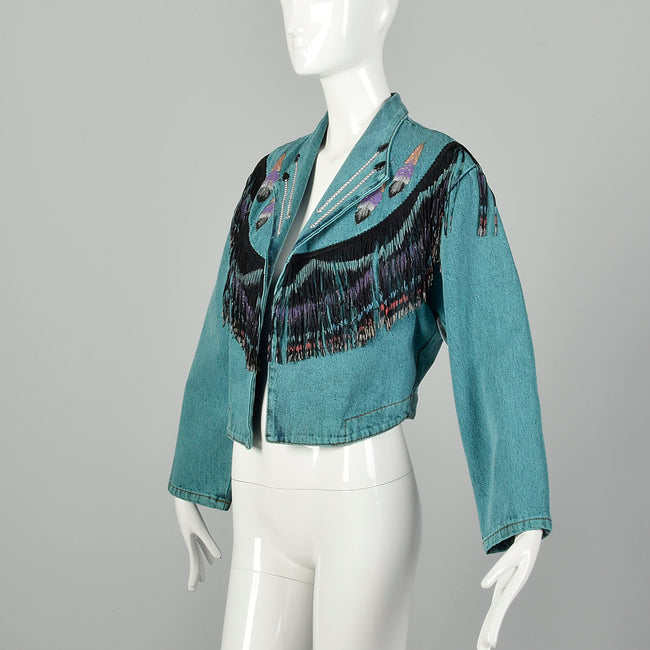 Medium Denim Jacket 1980s Bolero Fringe Jean Teal Southwestern