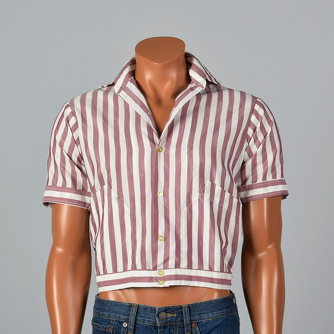 1950s Cropped Rockabilly Red Stripe Shirt