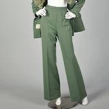 Medium Lilii Ann 1970s Green Fox Fur Collar Jacket Pants Skirt  Suit