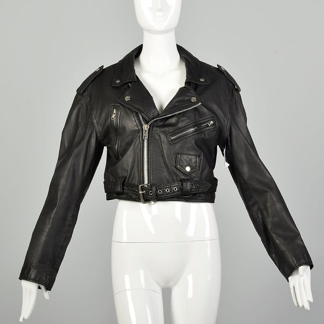 1990s Black Leather Cropped Biker Jacket Belt