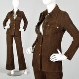 XXS 1970s Brown Suede Leather Top and Pants Set