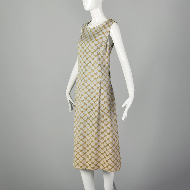 Small Pierre Balmain 1970s Gold and Ivory Sleeveless Dress 70s