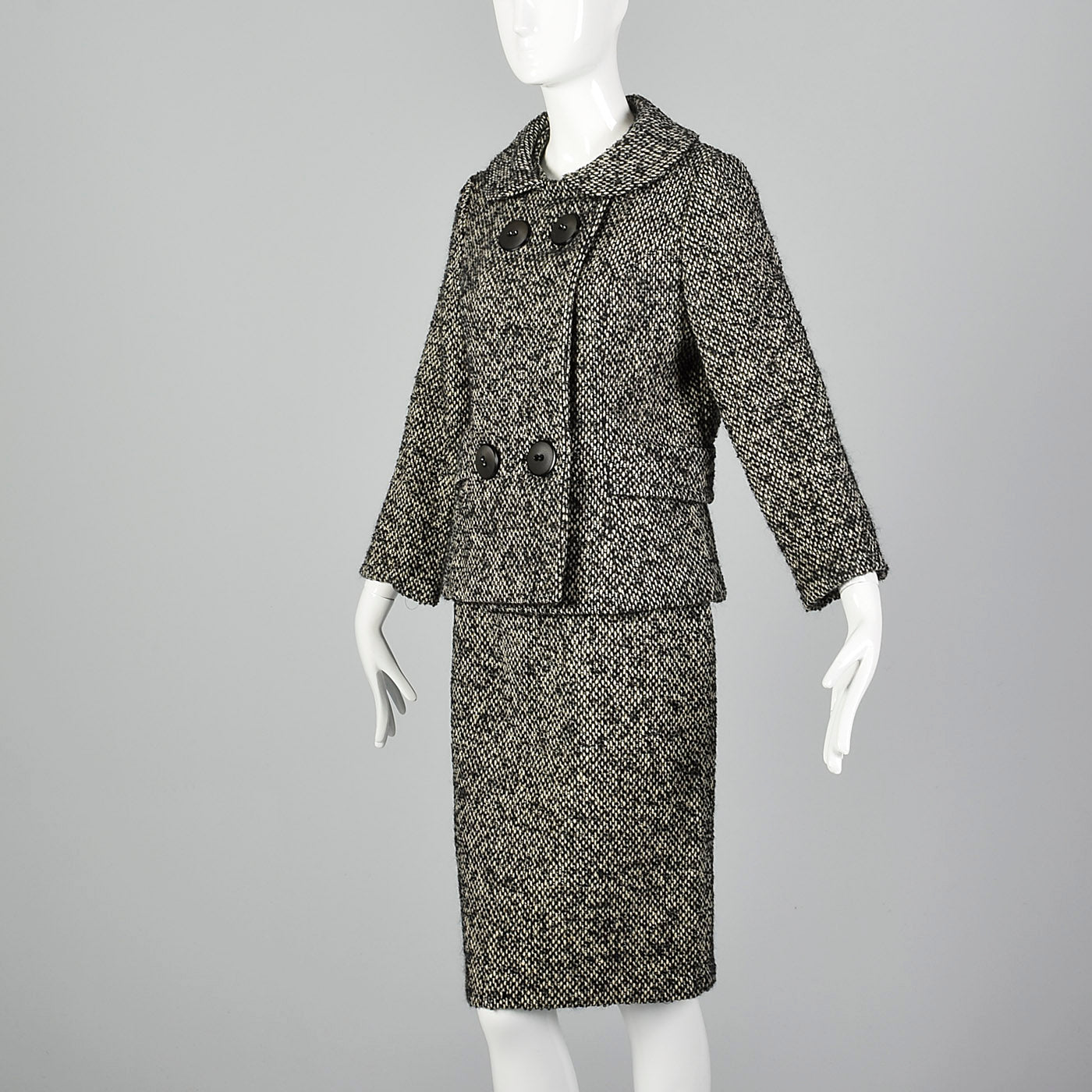 1960s Black and White Boucle Wool Skirt Suit