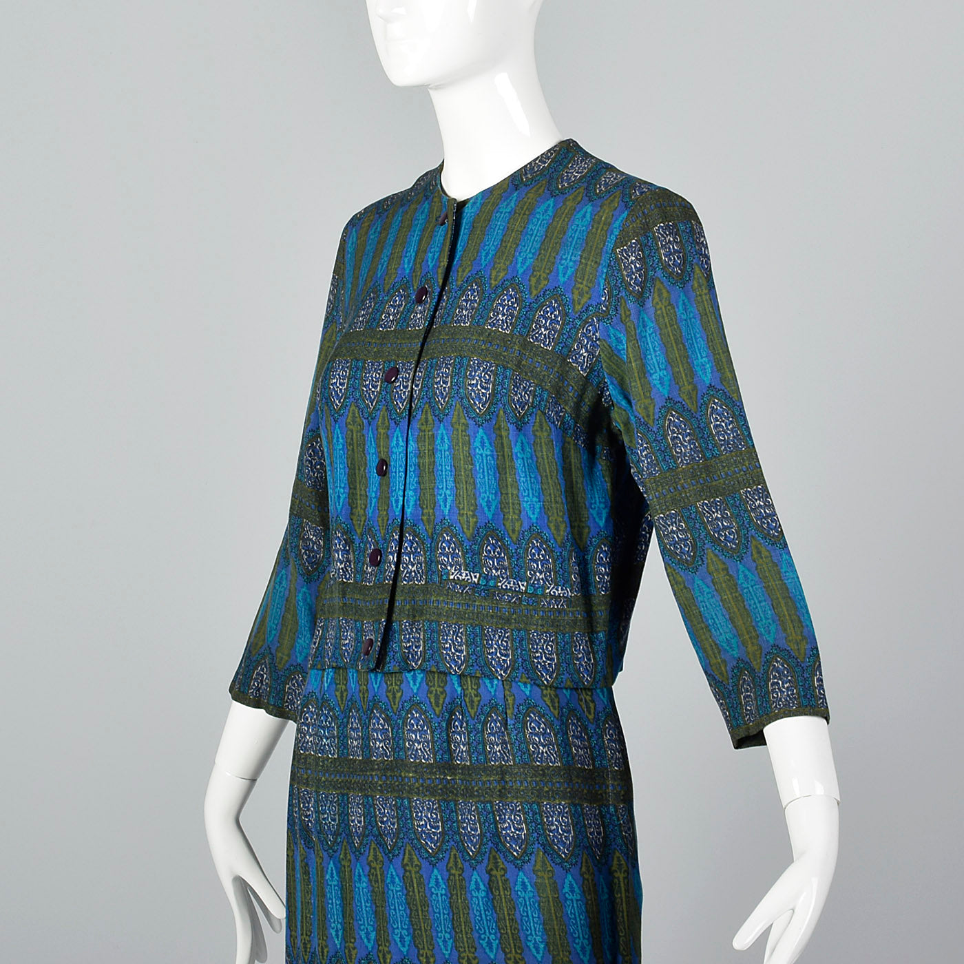1960s Blue Printed Jacket with Matching Skirt