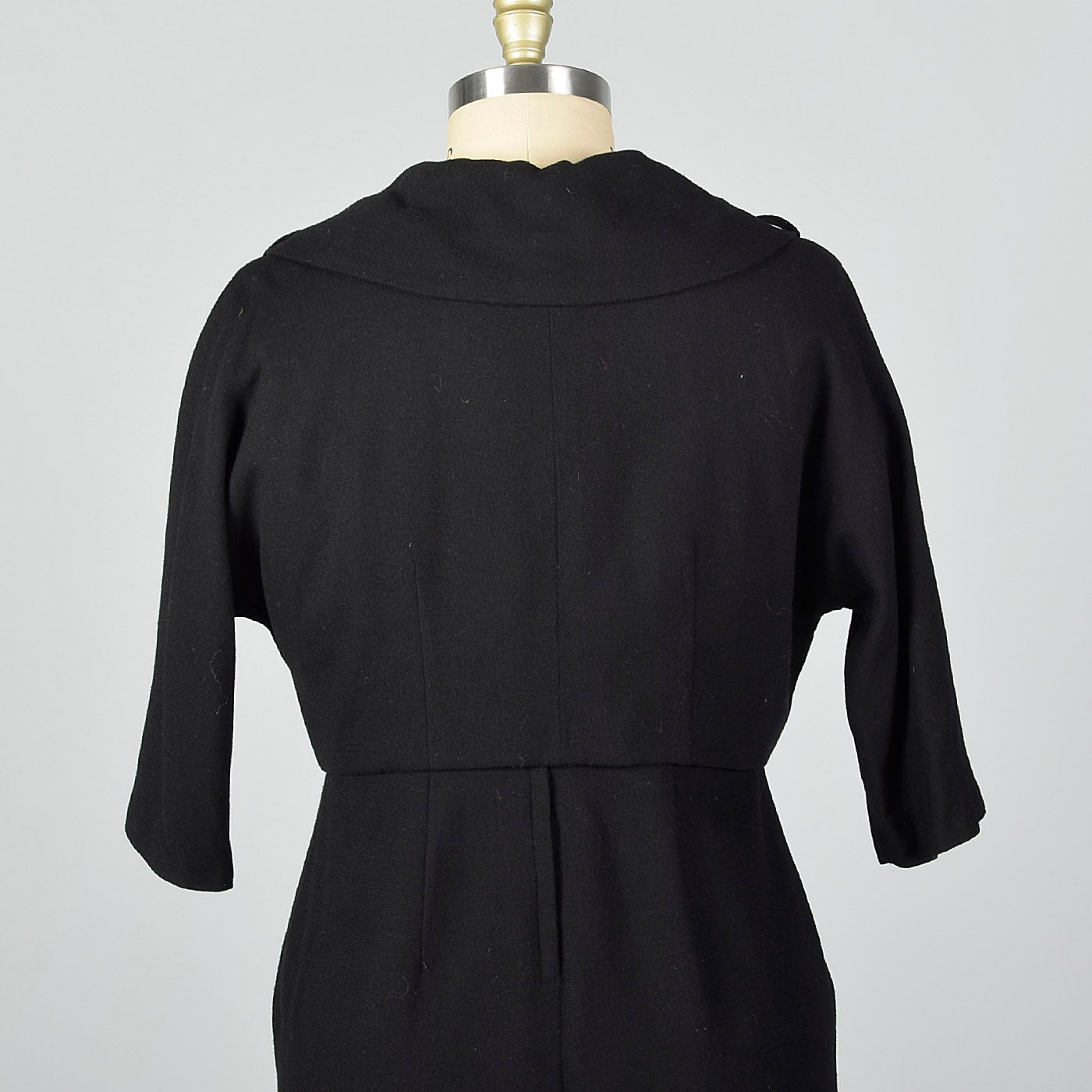 1950s Black Wool Dress and Jacket Set