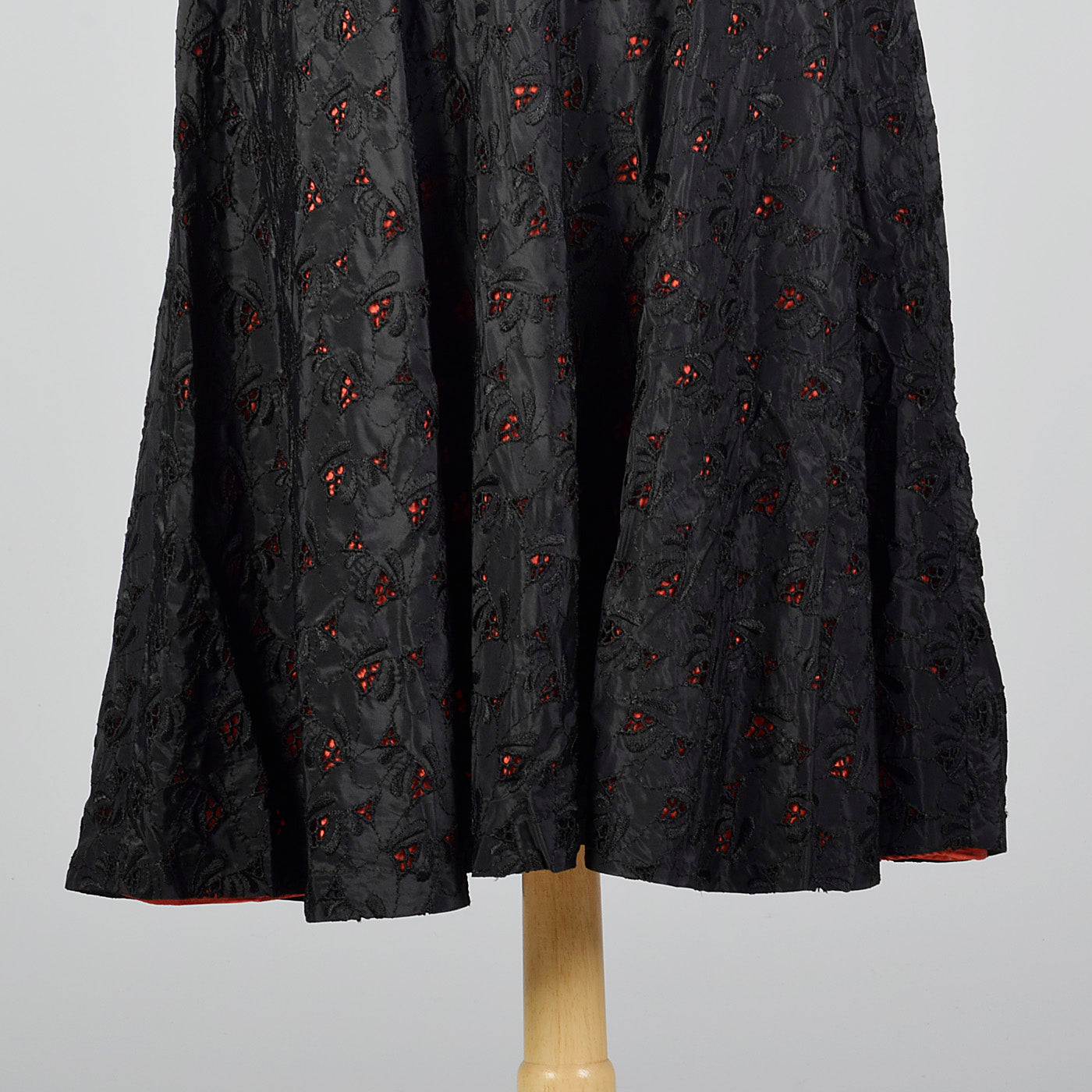 1950s Black Eyelet Dress with Red Lining
