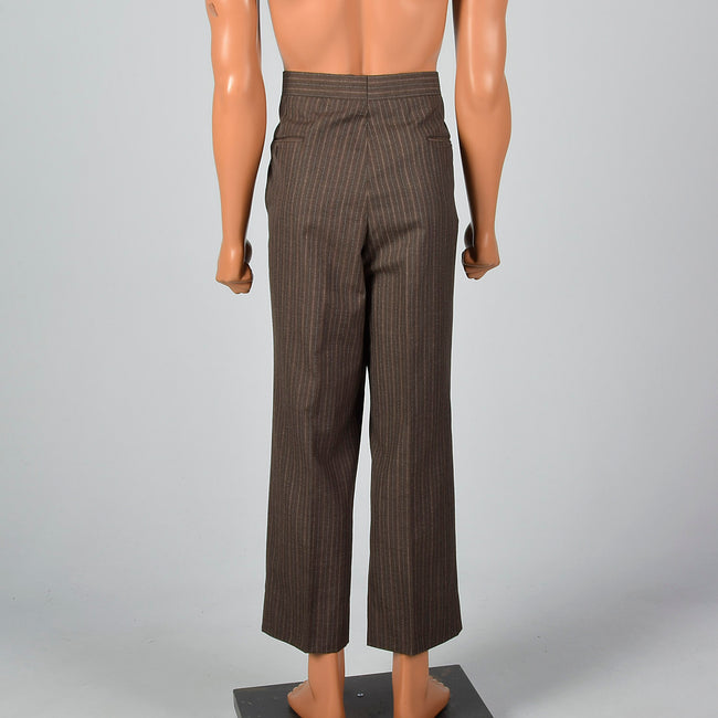 Large 1960s Brown Pinstripe Pants