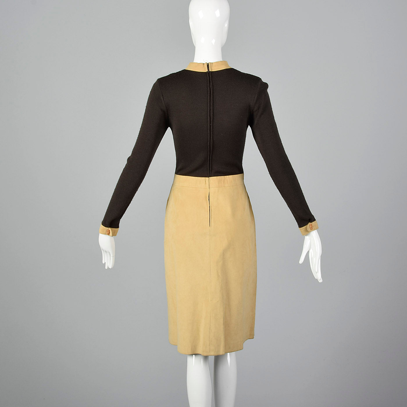 1970s Brown Knit and Leather Dress