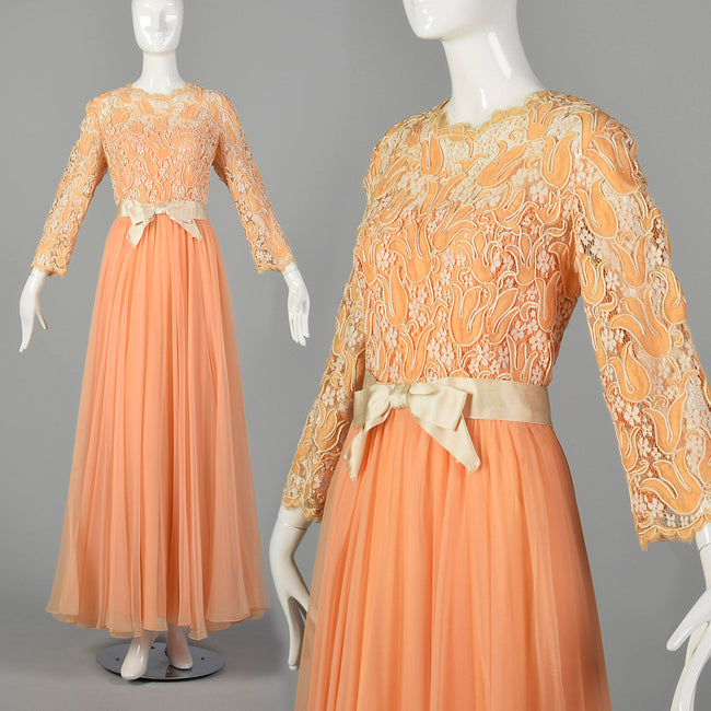 Large Nat Kaplan 1970s Chiffon and Lace Gown
