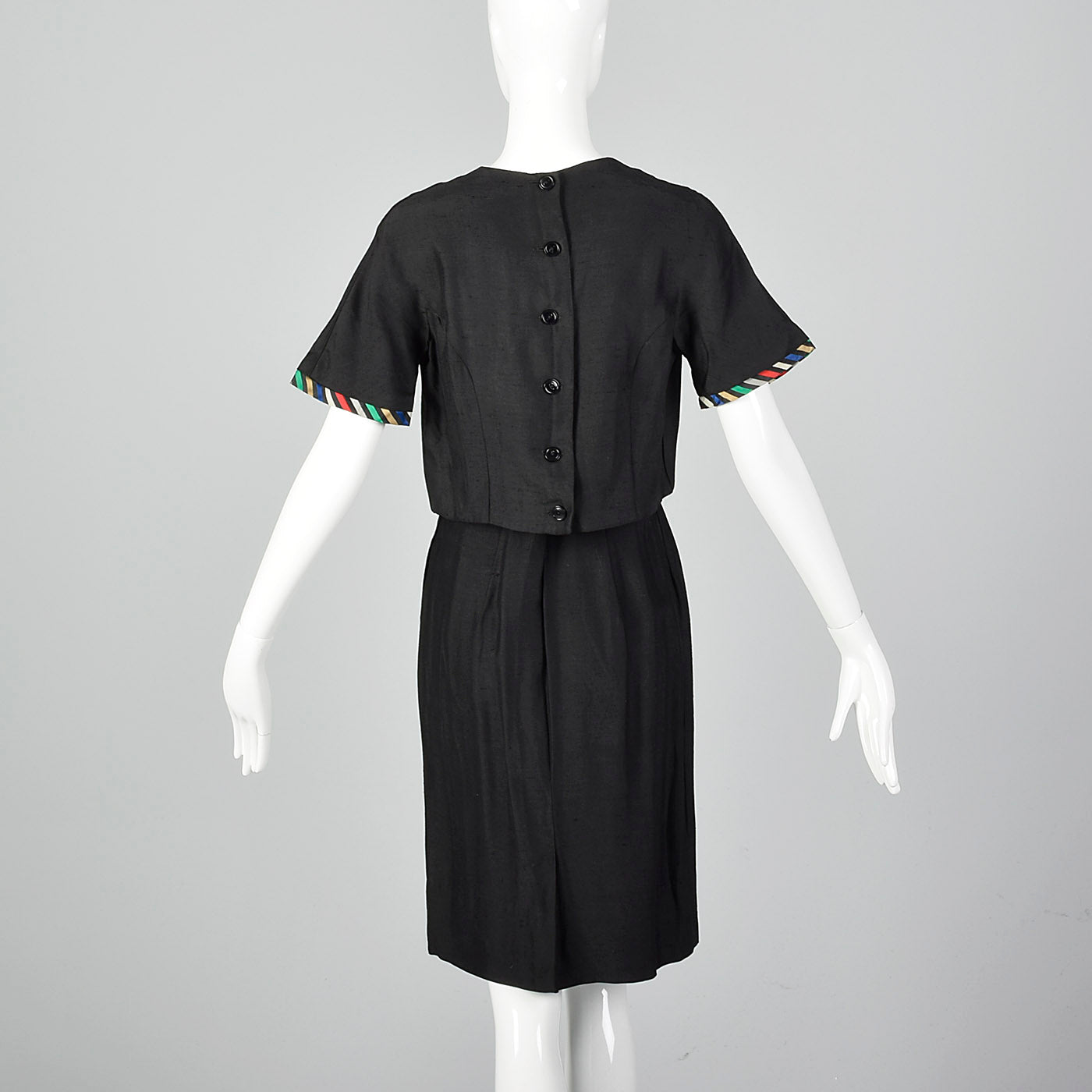 1960s Two Piece Skirt Suit with Ribbon Stripe Trim