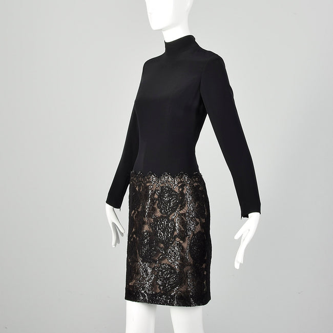 Small Bob Mackie 1990s  Black Mockneck Dress
