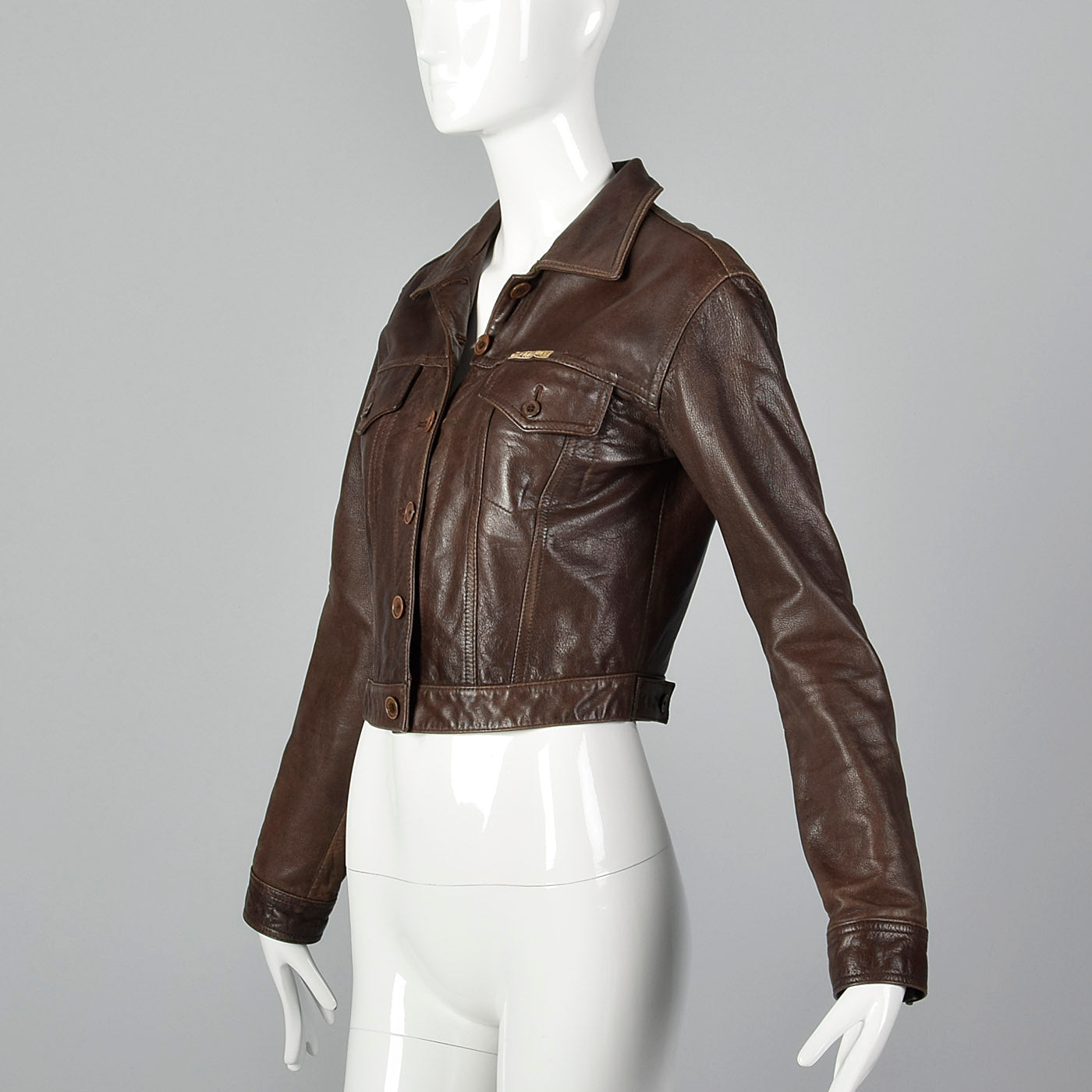 1990s Paco Rabanne Brown Leather Jacket