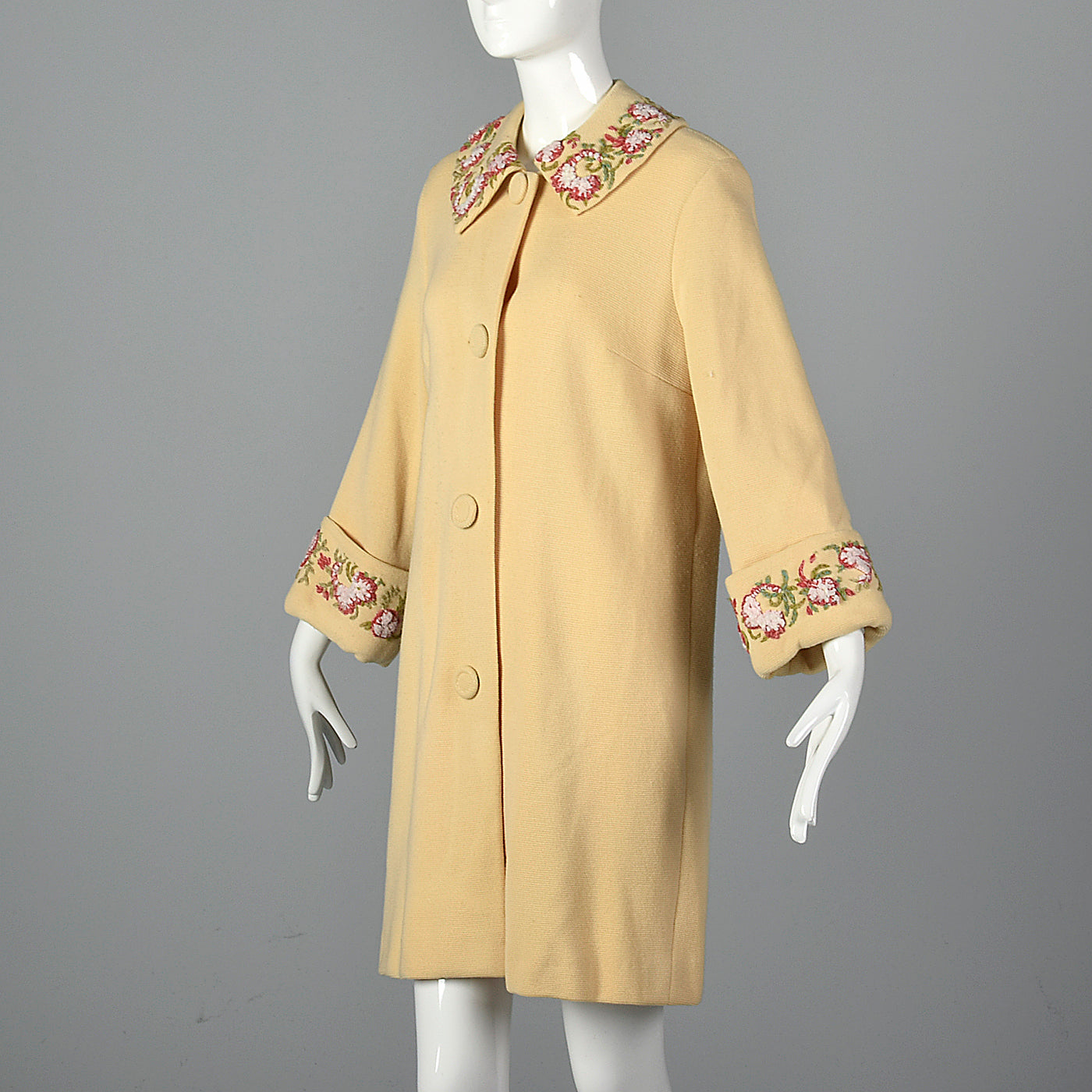 1960s Cream Knit Coat with Floral Embroidery Trim