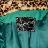 Medium 1950s Green Skirt Suit with Faux Leopard Collar