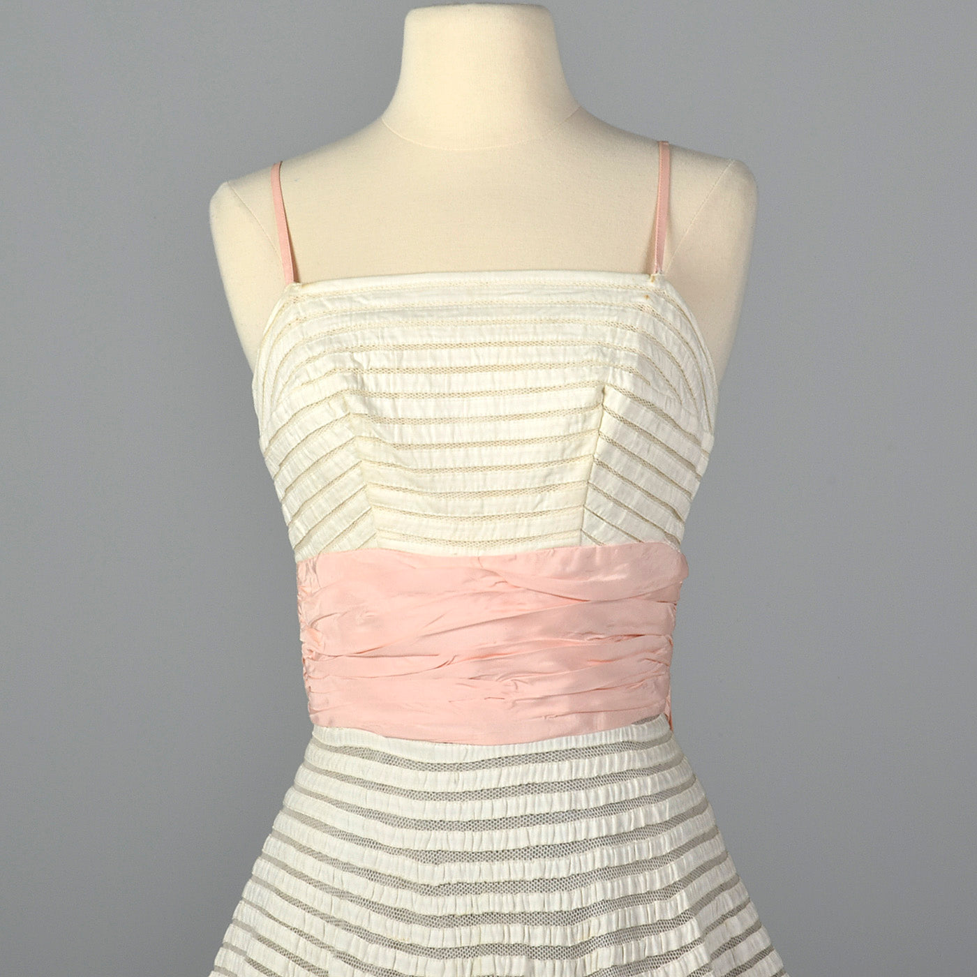 1950s White Party Dress with Sheer Mesh Stripes