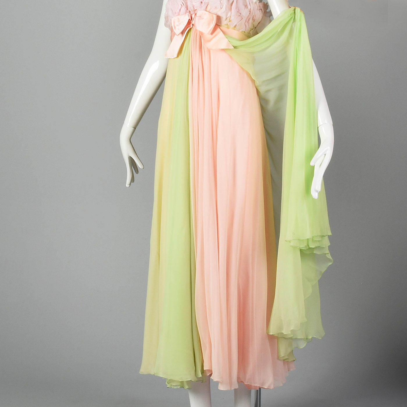 1960s Pastel Chiffon Evening Gown